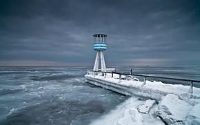 Обои холод, берег, море, маяк
