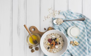 Картинка завтрак, орехи, мёд, йогурт, сухофрукты, овсянка