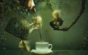 Картинка листья, ветки, графика, рука, человечки, чайник, чаепитие, чашка, плющ
