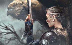 Картинка girl, sword, fantasy, armor, weapon, Warrior, braid, painting, dragon, artwork, fantasy art, Thomas Chamberlain - ...