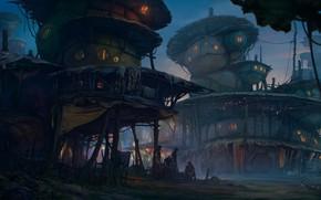 Картинка люди, постройки, жители, поселение, Fantasy settlement
