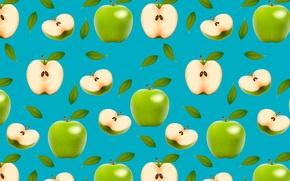 Обои зеленый, яблоки, плоды, половинки