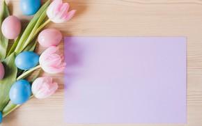 Картинка цветы, весна, Пасха, тюльпаны, розовые, pink, flowers, tulips, spring, Easter, eggs, decoration, Happy, tender, яйца …