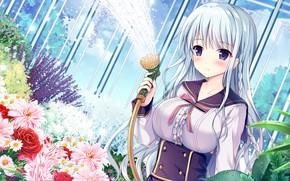 Картинка девушка, цветы, игра, Anime
