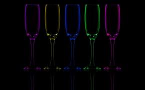 Картинка отражение, цвет, фужеры