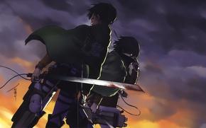 Картинка кровь, эмблема, плащ, клинки, военная форма, серое небо, Shingeki no Kyojin, Mikasa Ackerman, Eren Yeager, ...