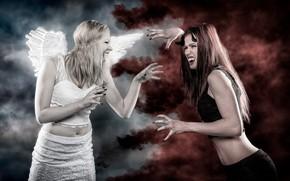 Картинка фон, девушки, дым, крылья, противостояние, ангел, демон, клыки, оскал, рога, вампиры, в белом, в черном, ...