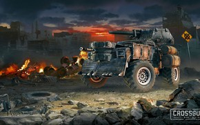 Картинка car, fire, flame, gun, game, cars, weapon, tank, spark, cannon, Crossout