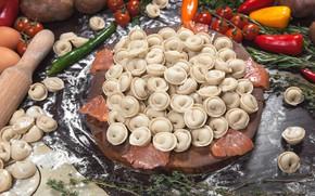 Картинка овощи, лосось, пельмени, рыбные