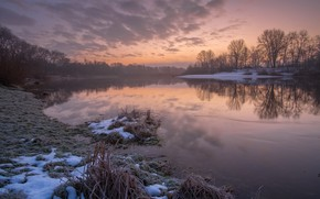 Картинка иней, вода, река, рассвет, утро, мороз, десна