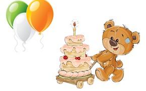 Картинка шарики, день рождения, праздник, подарок, арт, торт, детская