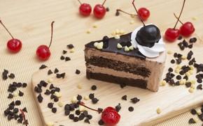 Картинка вишня, пирожное, крем, десерт, шоколадное, шоколадные конфеты