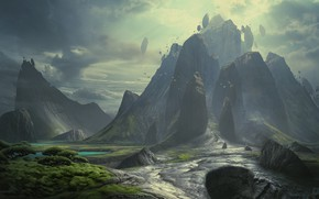 Картинка горы, скалы, растительность, Metal World
