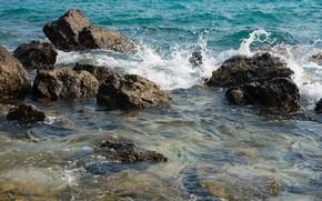 Картинка песок, море, волны, пляж, лето, небо, камни, берег, summer, beach, sea, blue, seascape, sand