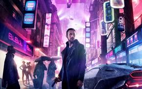 Обои постер, куртка, Райан Гослинг, город, дождь, огни, ночь, неоновые огни, триллер, пистолет, оружие, Бегущий по ...