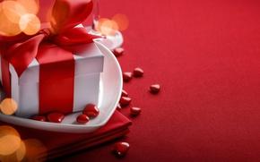Картинка red, love, background, romantic, hearts, bokeh, valentine's day, gift