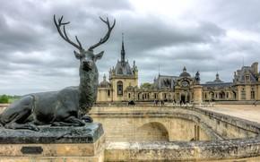 Картинка замок, олень, статуя, франция, Chantilly Stag