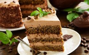 Картинка шоколад, торт, слои, крем, десерт, кусок торта