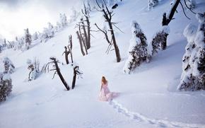 Картинка зима, девушка, снег, природа