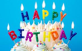 Картинка свечи, colorful, торт, rainbow, cake, крем, Happy Birthday, colours, cupcake, celebration, кексы, cream, decoration, candle, …