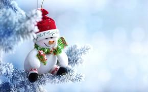 Картинка зима, снег, игрушка, елка, Новый Год, Рождество, снеговик, Christmas, winter, snow, Merry Christmas, Xmas, snowman, …