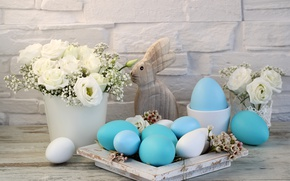 Обои decoration, белые розы, Easter, Пасха, happy, яйца крашеные, flowers, spring, holiday, eggs, цветы