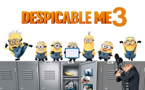 Картинка Kevin, film, animated, Despicable Me, Phil, Gru, Dave, minion, minions, animated movie, Despicable Me 3