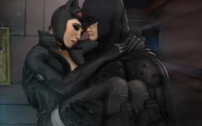 Картинка двое, Бетмен, рана, женщина кошка