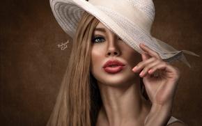 Картинка девушка, портрет, обработка, шляпка
