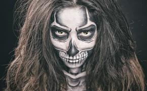 Обои глаза, череп, девушка, радиация, макияж, волосы, лицо, маникюр, скелет, взгляд, стиль