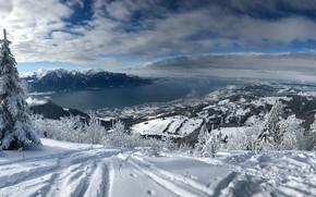 Обои Женевское озеро, Швейцария, Альпы, снег, горы, зима, Switzerland, Монтрё, Lake Geneva, Montreux, деревья, панорама, озеро, ...