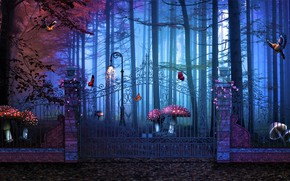 Картинка лес, грибы, ворота, Magical Gate To Artistic Forest