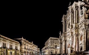 Картинка ночь, огни, дома, Италия, Сицилия, Сиракуза, Пьяцца Дуомо, Ортиджа