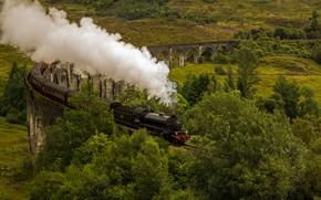Картинка дым, поезд, паровоз, Шотландия, виадук, Гленфиннан