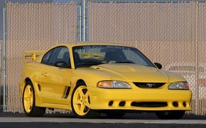 Картинка авто, жёлтый, сетка, Mustang