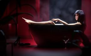 Картинка женщина, купание, ванна, asian girl