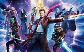 Обои strong, muscular, Star Lord, Zoe Saldana, Elizabeth Debicki, blade, Yondu, Karen Gillan, laser, woman, Rocket, ...