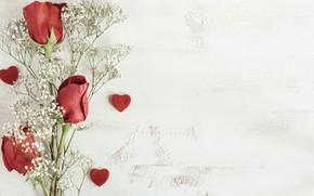 Картинка сердечки, бутоны, веточки, Красные розы