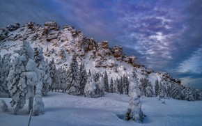 Обои зима, снег, деревья, скала, ели, Россия
