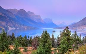 Картинка горы, природа, деревья, озеро, скалы, Glacier National Park, лес, США