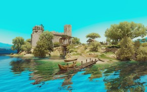Картинка пейзаж, река, замок, лодка, The Witcher 3, Wild Hunt