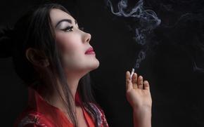 Картинка дым, сигарета, гейша, кимоно, азиатка