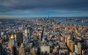 Картинка Нью-Йорк, панорама, США, Манхэттен