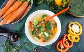 Картинка суп, перец, овощи, морковь, Первое блюдо