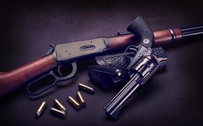 Обои ружьё, патроны, револьвер