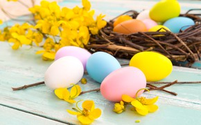 Картинка цветы, корзина, яйца, весна, желтые, colorful, Пасха, yellow, wood, pink, flowers, spring, Easter, eggs, decoration, …