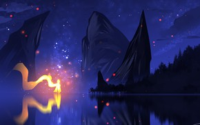 Картинка небо, вода, горы, ночь, огонь, силуэт, фэнтези, by ryky