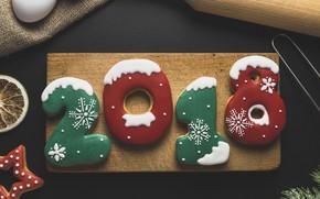 Картинка праздник, печенье, цифры, Новый год, угощенье