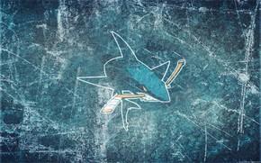 Картинка лед, акула, эмблема, клюшка, San Jose Sharks, НХЛ, nhl, Сан-Хосе Шаркс, хоккейный клуб