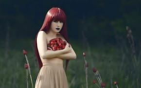 Картинка девушка, ягоды, клубника, сбор